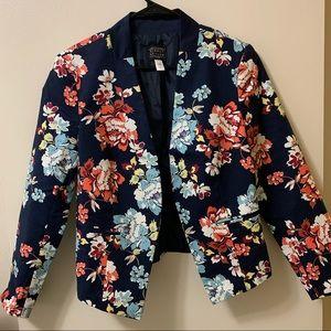 NWT Navy Floral Cropped Blazer